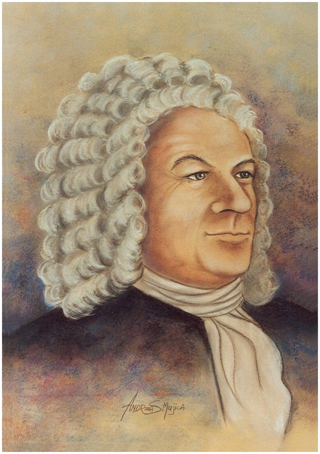 Impressive portrait of German composer Johann Sebastian Bach by artist Andreas Mujica