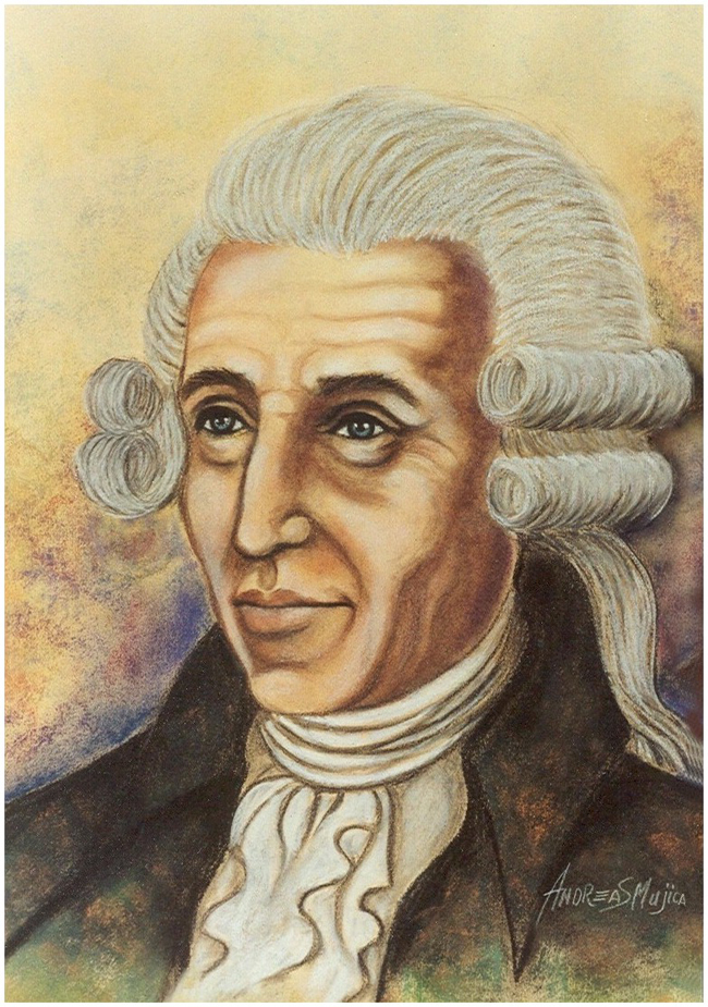 Remarkable portrait of Joseph Haydn realized in the artistic style of Andreas Mujica
