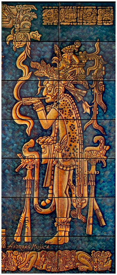 Detail. Breathtaking mural painting depicting  Mayan Art with magnificent combination of golden and blue indigo colors