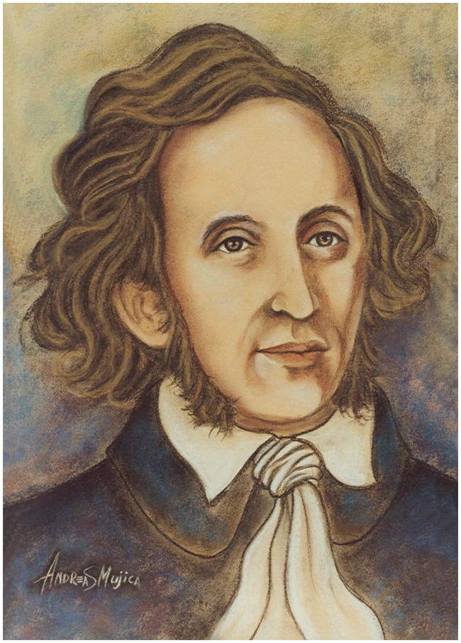 Felix Mendelssohn classic German composer. Portrait painted by artist Andreas Mujica