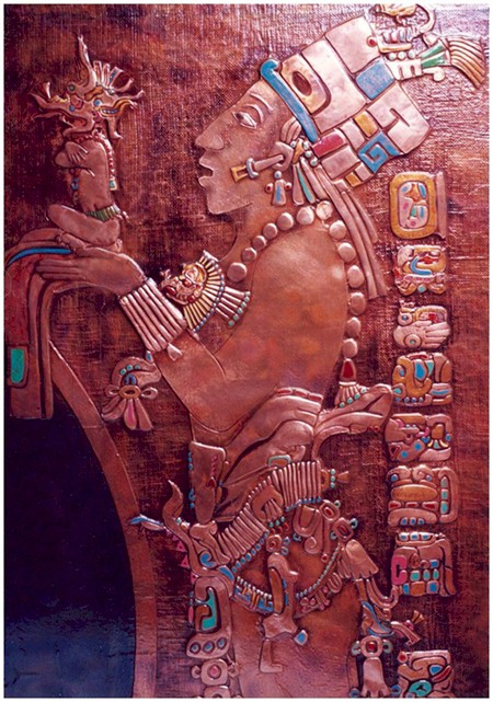 Copper Mural Detail reviving the inspiration and glory of Mayan Art of this exquisite and mysterious civilization