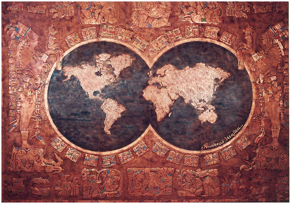 Astonishing copper mural inspired by the Mayan Art with two circles in the center showing the earth map in copper and indigo colors
