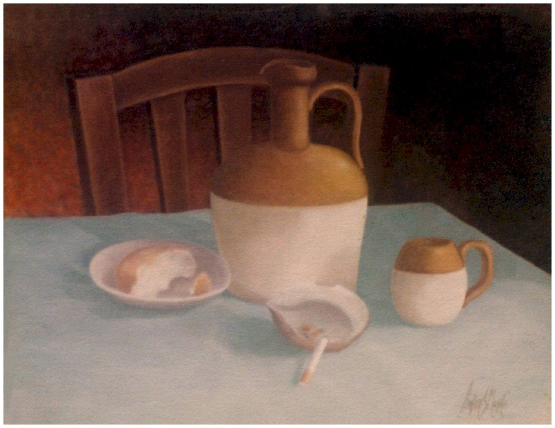 Oil Painting by Andreas Mujica depicting a basic table setting with a bottle, a cup, a shell holding a cigarette and a plate with a piece of bread