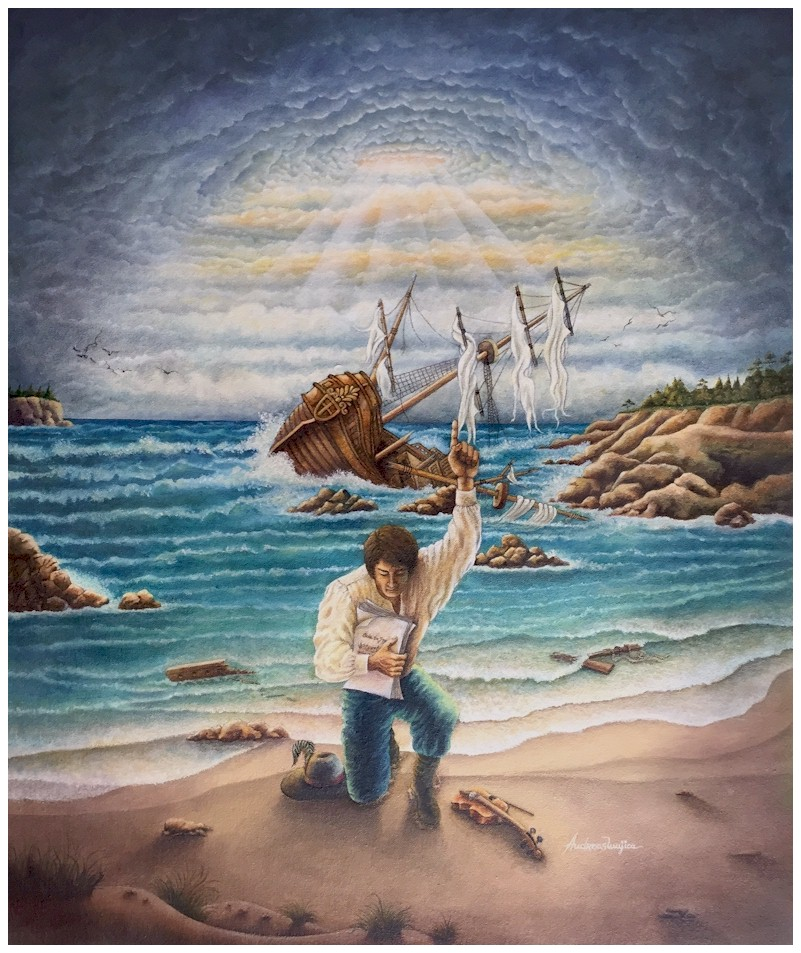 The Survival of Music is a thoughtful oil painting by Andreas Mujica, showing a musician at shore with violin and score pages after surviving a shipwreck